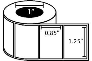 "Zebra DT Label, Paper (1.2"" x 0.85"") (1"" Core) 6 Roll Case"