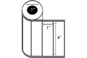 "Zebra DT Label, Paper (4"" x 1"") (1"" Core) 6 Roll Case"