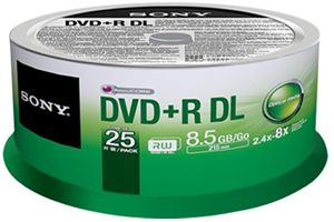 Sony 25DPR85SP 8.5GB DVD+R DL Double Layer 25PK Spindle