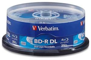 Verbatim 98356 BD-R DL 6X 50GB Dual Layer Blu-ray 25PK Jewel Case