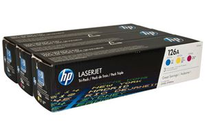 HP CF341A 126A 3-PK Cyan Magenta Yellow OEM Genuine Toner Cartridges