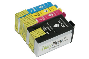 HP 902XL Black & Color 4-Pk High Yield Compatible Ink Cartridges
