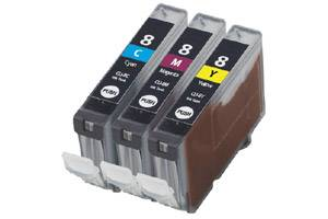 Canon CLI-8 3-Colors Pack Compatible Ink Tank Cartridges w/ CHIP