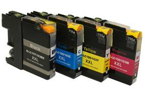 Brother LC107 Black & LC105 C/Y/M Color Compatible Ink Cartridge Set