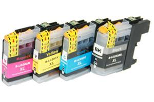 Brother LC201 Black & Color Compatible Ink Cartridge 4 Pack Set