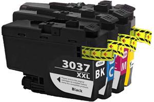 Brother LC3037 Black & Color Compatible Ink Cartridge 4 Pack Set