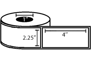 "Zebra DT Label, Paper (2.25"" x 4"") (1"" Core) 12 Roll Case"