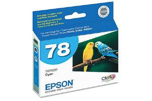 Epson T078220 #78 Cyan OEM Genuine Ink Cartridge for Stylus Photo R260 R280 RX580 RX680