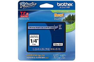 Brother TZE-111 1/4 inch Black on Clear Tape (6mm x 8m)