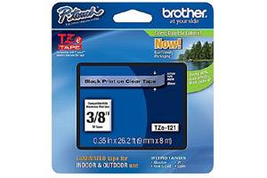 Brother TZE-121 3/8 inch Black on Clear Tape (9mm x 8m)