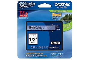 Brother TZE-131 1/2 inch Black on Clear Tape (12mm x 8m)