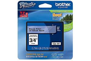 Brother TZE-141 3/4 inch Black on Clear Tape (18mm x 8m)