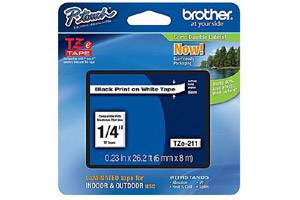 Brother TZE-211 1/4 inch Black on White Tape (6mm x 8m)