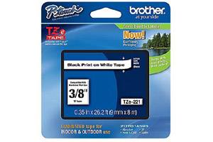 Brother TZE-221 3/8 inch Black on White Tape (9mm x 8m)
