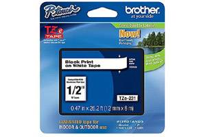Brother TZE-231 1/2 inch Black on White Tape (12mm x 8m)