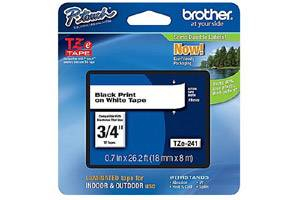 Brother TZE-241 3/4 inch Black on White Tape (18mm x 8m)