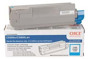 Okidata 43324403 Cyan [OEM] Genuine Toner Cartridge for C5500 C5800 Color Printers