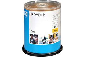 HP 02055 16X 4.7GB White Inkjet Hub Printable DVD+R 100PK Spindle