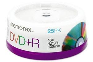 Memorex 05618 16X 4.7GB DVD+R 25PK Spindle