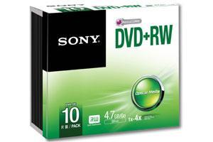 Sony 10DPW47SS 4X 4.7GB DVD+RW 10PK Jewel