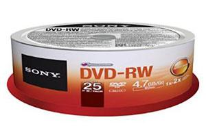 Sony 25DMW47SPM 4.7GB DVD-RW 25PK Spindle