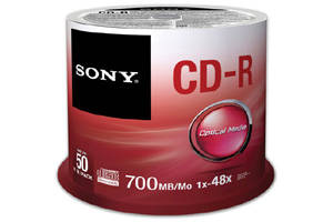 Sony 50CDQ80SP 48X 80 min 700MB CD-R Media 50PK Spindle
