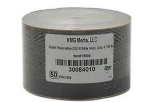 Kodak 59050 16X 4.7GB 24K Gold Layered White Inkjet Printable DVD-R 50PK Spindle