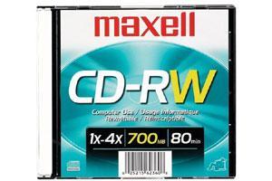 Maxell 630010 4X 80Min 700MB CD-RW 1PK Slim Jewel Case