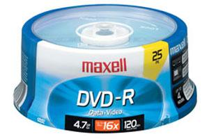 Maxell 638010 16X 4.7GB DVD-R 25PK Spindle