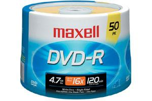 Maxell 638011 16X 4.7GB DVD-R 50PK Spindle