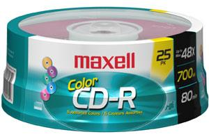 Maxell 648446 48X 80Min 700MB Assorted Color CD-R 25PK Spindle