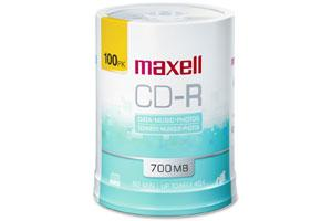 Maxell 648720 48X 700MB 80min White Inkjet Printable CD-R 100PK Spindle