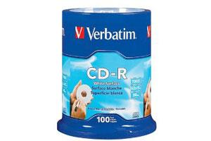 Verbatim 94712 52X 80Min 700MB CD-R White Surface 100PK Spindle