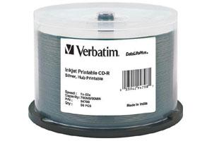 Verbatim 94798 52X 700MB 80min Silver Inkjet Printable CD-R 50PK Spindle