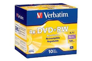 Verbatim 94839 4X 4.7GB DVD+RW 10PK Jewel Case