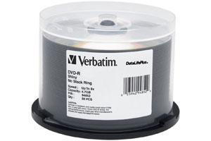 Verbatim 94852 8X 4.7GB Shiny Silver Silk Screen Printable DVD-R 50PK Spindle