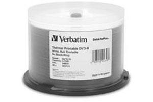 Verbatim 94853 8X 4.7GB White Thermal and Hub Printable DVD-R 50PK Spindle