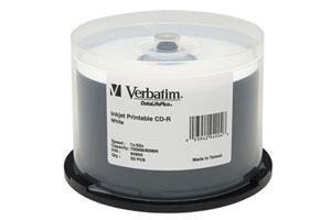 Verbatim 94904 52X 700MB 80min White Inkjet Printable CD-R 50PK Spindle