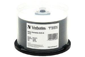 Verbatim 94906 8X 4.7GB White Inkjet Printable DVD-R 50PK Spindle.