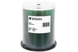 Verbatim 94970 52X 80Min 700MB Shiny Silver Silk Screen Printable CD-R 100PK Spindle