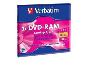 Verbatim 95002 3X 4.7GB R/W DVD-RAM 1PK Jewel Case