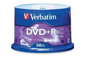 Verbatim 95037 16X 4.7GB DVD+R 50PK Spindle