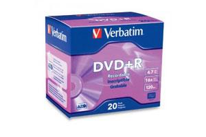 Verbatim 95038 16X 4.7GB DVD+R 20PK Slim Jewel Case