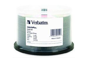 Verbatim 95052 8X 4.7GB Shiny Silver Inkjet Printable DVD+R 50PK Spindle