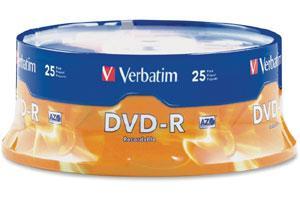 Verbatim 95058 16X 4.7GB DVD-R 25PK Spindle