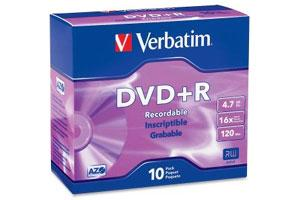 Verbatim 95097 16X 4.7GB DVD+R 10PK Slim Jewel Case
