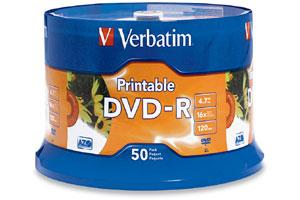 Verbatim 95137 16X 4.7GB White Inkjet Hub Printable DVD-R 50PK Spindle
