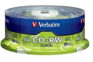 Verbatim 95169 4X 80Min 700MB CD-RW 25PK Spindle