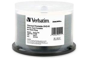 Verbatim 95211 16X 4.7GB White Thermal and Hub Printable DVD-R 50PK Spindle