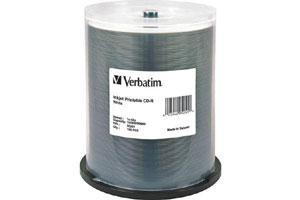 Verbatim 95251 52X 700MB 80min White Inkjet Printable CD-R 100PK Spindle